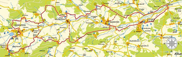 Karte des Zenntalwanderwegs